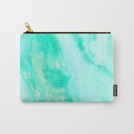 Shimmery Sea Green Turquoise Marble Metallic Carry-All Pouch
