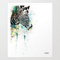 zebra Art Prints featuring Zebra by Del Vecchio Art by Aureo Del Vecchio