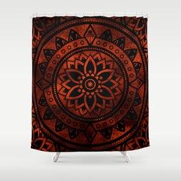 Mandala Burnt Orange Spiritual Zen Bohemian Hippie Yoga Mantra Meditation Shower Curtain