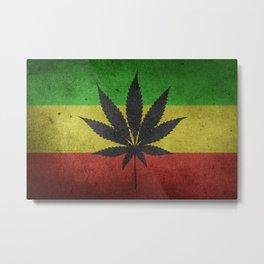 Rastafarian Flag with Marijuana Leaf Metal Print