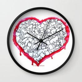 Cats Heart Wall Clock
