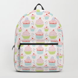 Pastel Cupcakes Food Vector Pattern Backpack