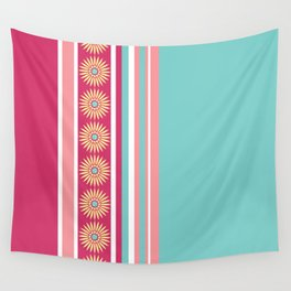 Daisy Stripe Pink Blue Yellow Wall Tapestry