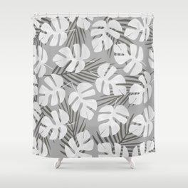 Monstera - Palm Leaf white Shower Curtain