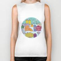 cityscape Biker Tanks featuring Cityscape Sketch by EkaterinaP