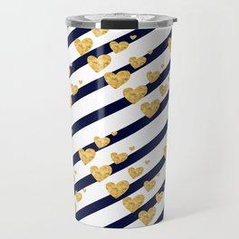 Holiday Hearts Blue and Gold #xmas #christmas #minimal #love #design Travel Mug