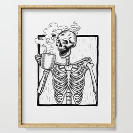 Skeleton Drinking a Cup of Coffee Serving Tray
