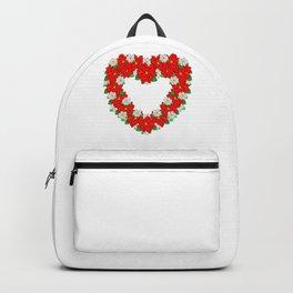 Pretty Poinsettia Heart Wreath For Christmas Backpack