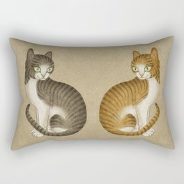 Minhwa: A pair of cats type A (Korean traditional/folk art) Rectangular Pillow