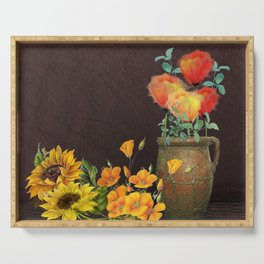 Watercolor Poppies and Golden Sunflowers Serving Tray