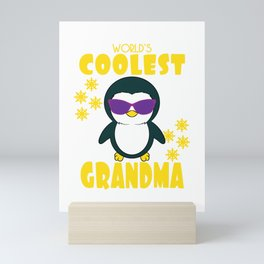 """""""World s Coolest Grandma Penguin With Sunglasses"""" for penguin lovers out there and coolest grandma!  Mini Art Print"""