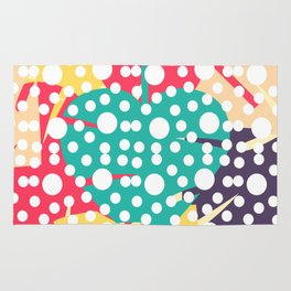 Colorful leaves with dots Rug