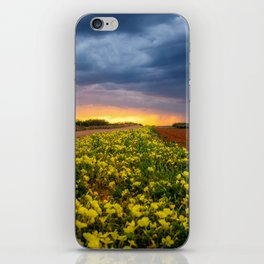 Yellow Flower Road - Path of Wildflowers Lead Into Texas Sunset on Stormy Evening iPhone Skin
