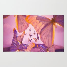 Butterflies In Flight - Pink And Purple Illustration #decor #society6 Rug