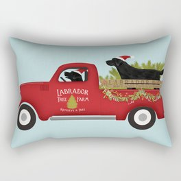 Black lab dog labrador christmas tree farm vintage red truck Rectangular Pillow