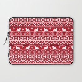 Biewer Terrier fair isle christmas red and white pattern minimal dog breed pet designs Laptop Sleeve