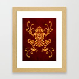 Intricate Red and Yellow Tree Frog Framed Art Print
