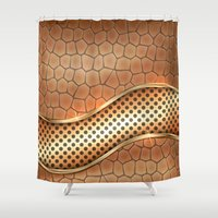 anaconda Shower Curtains featuring Blingin Anaconda by Robin Curtiss