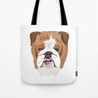 english bulldog Tote Bags featuring English bulldog by Hedera