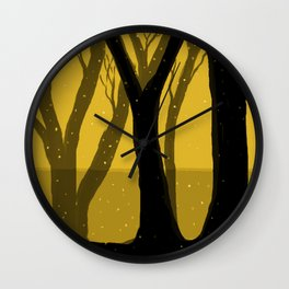 Magical Forest in Gold Wall Clock