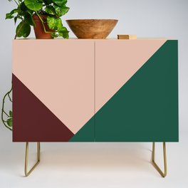 Burgundy and Green Geometric Credenza