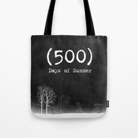 500 days of summer Tote Bags featuring 500 Days of Summer by DrøpDeadRian