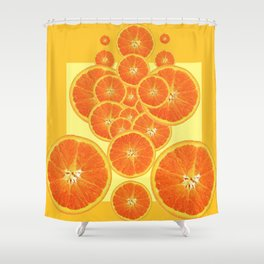 CONTEMPORARY ORANGE SLICES  ABSTRACT MODERN ART Shower Curtain