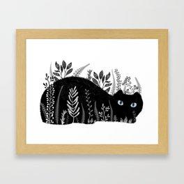 Garden Cat Black And White Framed Art Print