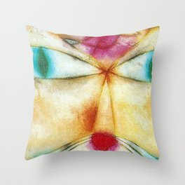 Classical Abstract Masterpiece 'Cat and Bird' by Paul Klee Throw Pillow