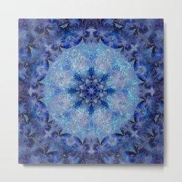 Frozen Leaves Mandala Metal Print
