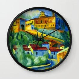 Charterhouse of Florence & Italian Village landscape painting by Hermann Max Pechstein Wall Clock