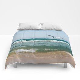 Gull Flight Over Lake Michigan Comforters