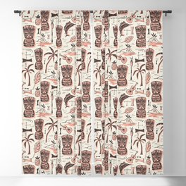 Tropical Tiki - Cream Pink Blackout Curtain