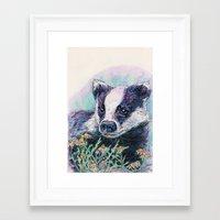 badger Framed Art Prints featuring Badger by Sarah Jane Bradley