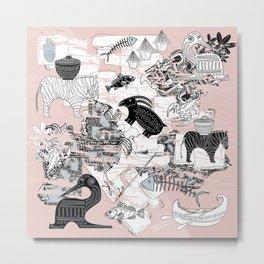 """Primitive Pink, Black and Blue Jungle Pattern"" Metal Print"