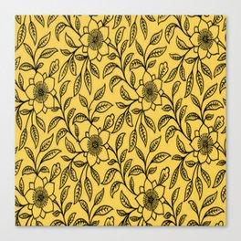 Vintage Lace Floral Primrose Yellow Canvas Print