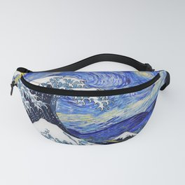 "Hokusai,""The Great Wave off Kanagawa"" + van Gogh,""Starry night"" Fanny Pack"