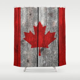 Canada flag on heavily textured woodgrain Shower Curtain