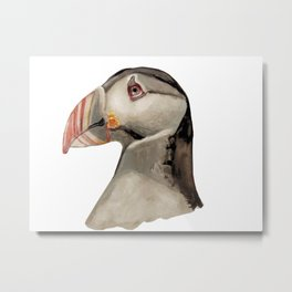 worried Puffin Metal Print