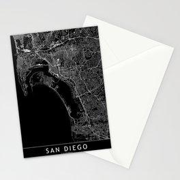 San Diego Black Map Stationery Cards