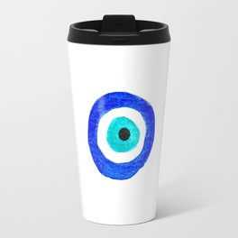 Single Evil Eye Amulet Talisman Ojo Nazar - on white Travel Mug