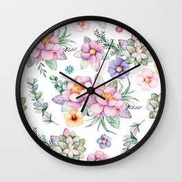 Pastel pink lavender green watercolor hand painted floral Wall Clock