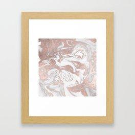 Rosegold marble Framed Art Print