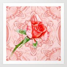 Pink rose on elegant kaleidoscope Art Print