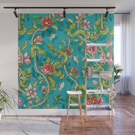 Morning Song - turquoise Wall Mural