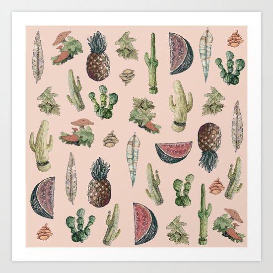 cactus, pinneaples and mushrooms Art Print