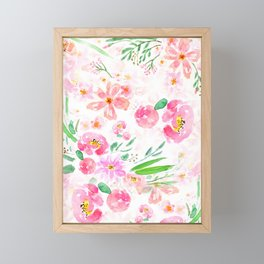 pink flowers and green leaf pattern  Framed Mini Art Print