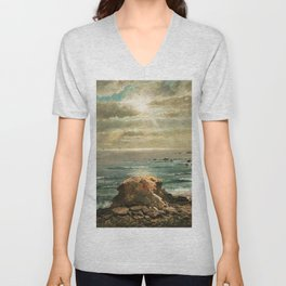 Sunlight through the Clouds over a Rocky Coast by Edmond Darch Lewis Unisex V-Neck