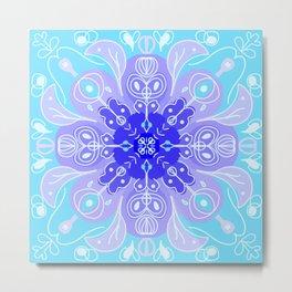 Zen Snowflake Mandala Metal Print