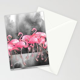 Flamingo Collage in Watercolor and Ink Stationery Cards